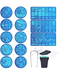 Biutee 13 Pcs Fleur Forêt Image Nail Plates + 2 Stamper Scraper Sets Nail Art Stamping Plates Stamp Plate Outil