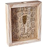 Hölzerne Wein-Champagne-Korken- / Bier-Flaschenkapsel-3D Sammlungs-Kasten-Speicher-Anzeige