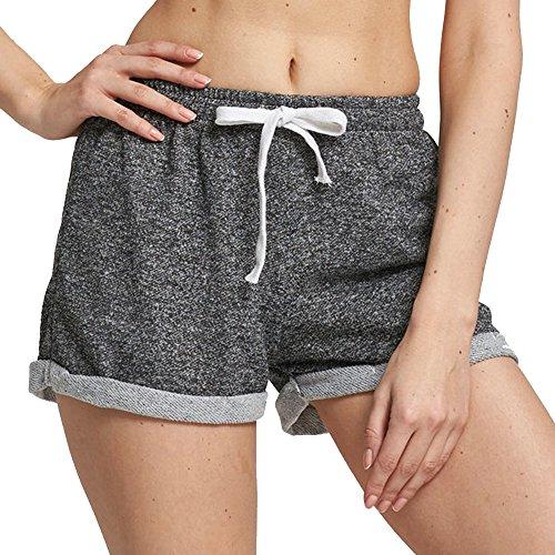 DUSISHIDAN Damen Beiläufige Sportshort Retro Shorts mit Mitte Taille Für Fitness Lauf Training, Grau, Gr. M (Taillen 62-86cm) (Taille Elastische Mitte)