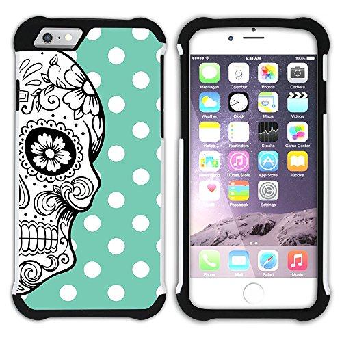 Graphic4You Mexikanische Zuckerschädel Tod Punktmuster Tupfen Muster (Wasserblau) Hart + Weiche Kratzfeste Hülle Case Schale Tasche Schutzhülle für Apple iPhone 6 / 6S Wasserblau