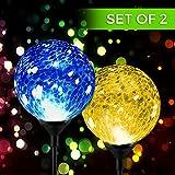 Longoni Fonctionne à l'énergie solaire Boule de verre craquelé Piquet de changement de couleur Lights- résistant aux intempéries/sans fil extérieur LED Accent Gamme Imax Meilleur Décor pour jardin/cour/chemin/Allée - 2