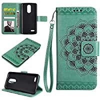 K8 2017 Wallet Case, EST-EU Retro Mandala Embossing PU Leather Stand Function Protective Covers with Card Slot Holder Wallet Book Case for LG K8 2017, Green