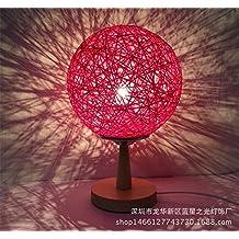 XIAOLE Regalos creativos personalidad calidez de moda dormitorio mesita de noche lámpara de lectura simple moderna luz de seda de línea twine de la lámpara de mesa de mimbre de cáñamo,rojo ciruela