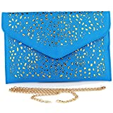 Imentha Damen Envelope Clutch PU-Leder Abendtasche Aushöhlen Design mit gold chain Schulterriehmen Damen Tasche Handtasche Umhängetasche