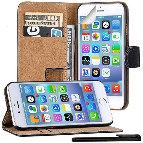 4in1 PREMIUM Custodia per - Apple iPhone 7 - Portafoglio Flip Cover Wallet con Chiusura Magnetica in NERO + 1xStilo + 1x Pellicola Protezione
