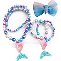 CHTENG 3Pcs Little Girls Princess Jewelry Dress-up Mermaid Necklaces Bracelet and Hair clip 01