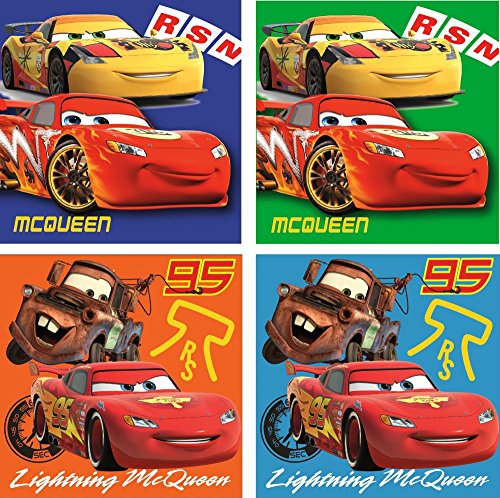 Disney Cars Lot de 4 gants de toilette à laver anti-taches 69886