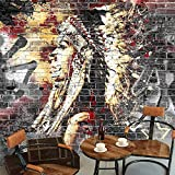 LONGYUCHEN Benutzerdefinierte Wallpaper Murals 3D Graffiti Kunst Holzmaserung Brick Wall Mural Retro-Merkmal Cafe Restaurant,260Cm(H)×460Cm(W)
