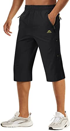 TACVASEN Men's Quick Dry Breathable Outdoor Sports Elastic Capri Shorts with Zipper Pockets
