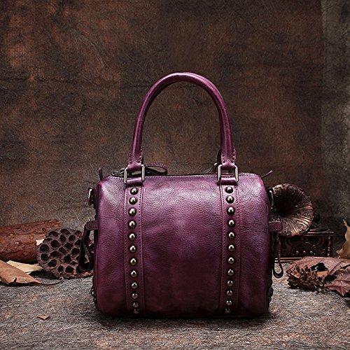 Frotter à la main cuir Retro Pack unique de loisirs sac d'épaule sac sac rivet classique Purple