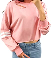 Outtop Women's Fashion Hole Long Sleeve Sweatshirt Ladies Autumn Blouse Crop Top