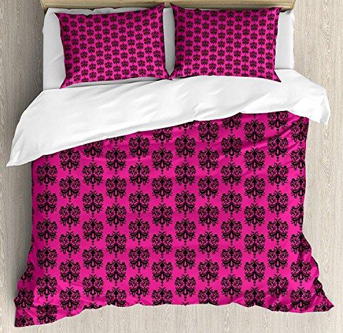 Hot Pink 3-teiliges Bettwäscheset Bettbezug-Set, Ethno-Orientalisch-Schwarz-Damast-Design mit östlichen Motiven auf einem Pink-Hintergrund, 3-tlg. Tröster- / Qulitbezug-Set mit 2 Kissenbezügen, Schwa - Pink Schwarz Tröster Set