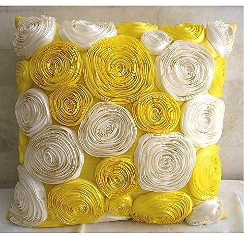 Jaune housse coussin, Ruban satin Fleurs de rose jaune housse de coussin, 40x40 cm housse de coussins décoratifs, Soie housse de coussins décoratifs, floral coussin décoratif pour canapé - Sun Blooms