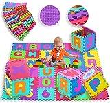 KIDIZ® Spielmatte 86 tlg. Spielteppich Puzzlematte Kinderteppich Matte Schutzmatte Kinderspielteppich Schaumstoffmatte ABC bunt Lernteppich Puzzleteppich Puzzle Zahlen und Buchstaben -