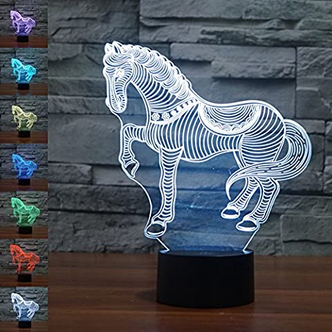 3D Illusion Lamp Jawell Night Light Horse 7 Changing Colors Touch USB Table Nice Gift Toys Decorations