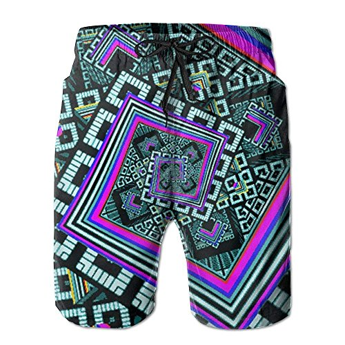 Jiger Kaleidoscope Trippy Acid Mens Swim Trunks Quick Dry Summer Surf Beach Board Shorts PantsL -