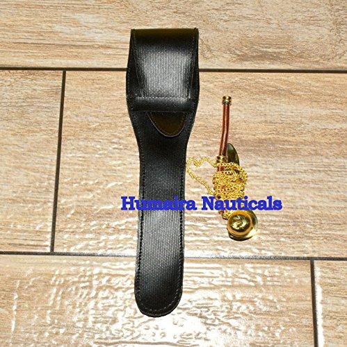 Humaira Nauticals Nautisches Bosuns Mariner Whistle Messing Dejeuner Schlüsselanhänger Sammlerstück Geschenk mit Leder Cover -