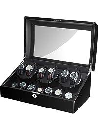 JQUEEN Caja de Almacenamiento automática para Relojes de 6 + 7 cueros, con 10 Modos