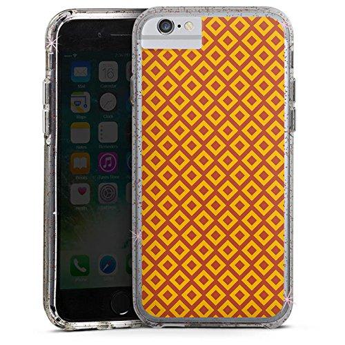 Apple iPhone 6s Bumper Hülle Bumper Case Glitzer Hülle Diamond Rauten Orange Bumper Case Glitzer rose gold