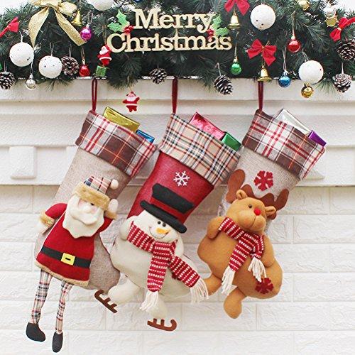 Fmeida - 3x calze di natale classiche, sacchetto regalo, decorazione per la casa, festa di natale, set con disegni di babbo natale, pupazzo di neve, renna., style 2, taglia unica