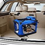 Bolsa de Transporte Perros Gatos Mascotas Viaje Tubo de Acero 4 Entradas, Medidas 60 x 42 x 42 cm, Color Azul / Negro, Pawhut