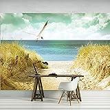FORWALL Fototapete Tapete Strand P4 (254cm. x 184cm.) Photo Wallpaper Mural AMF11595P4 Gratis Wandaufkleber Strand Sand Sonne Meer Wasser Ferien Himmel Vogel