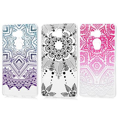 3 x Huawei Honor 5X TPU Soft Tasche Weiche CASE KASOS Huawei Honor 5X Hülle Schutzhülle Handyhülle Schale Protective Cover Silicone Taschen IMD Technologie ,Rote Totem + Pentagramm+ Totem schwarz