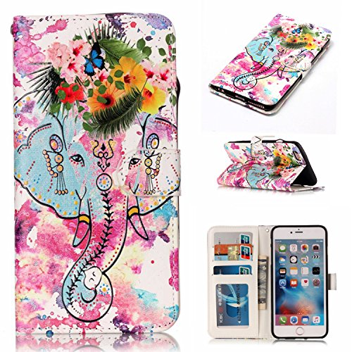 Coque iPhone 6 Plus Anfire Attrape Reve Motif Peint Mode Coque PU Cuir pour iPhone 6S Plus Etui Case Protection Portefeuille Rabat Étui Coque Housse pour iPhone 6 Plus / 6S Plus (5.5 pouces) Luxe Styl éléphant
