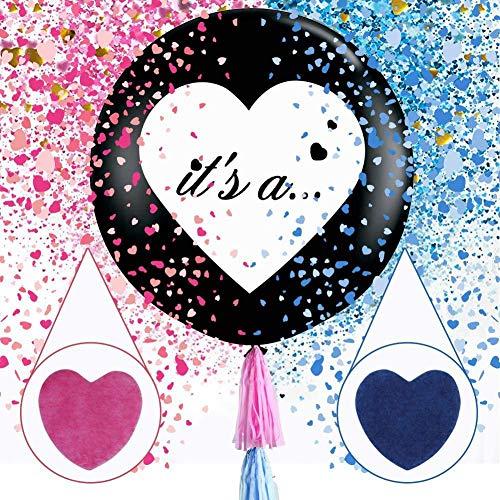 VoilaLove Palloncini di Coriandoli Reveal di Sesso da 36 Pollici - 2 Pezzi Palloncini Jumbo di Color Nero con Coriandoli di Cuore Rosa e Blu per Il Genere Reveal Forniture per Feste
