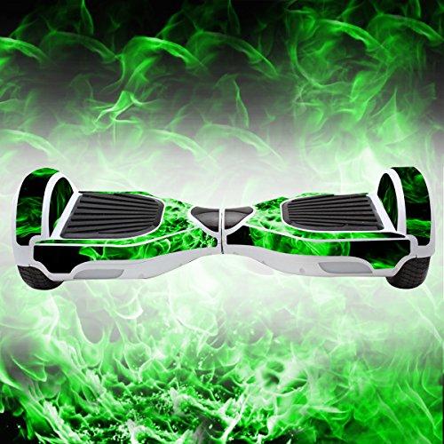 Elektro-Skateboards Elektro Scooter Self Balancing Scooter Aufkleber Elektroroller Roller Self Balance Board Haut - Selbststabilisierendes Fahrzeug E-Board Schutzfolie Sticker Aufkleber - Green Fire von GameXcel ®