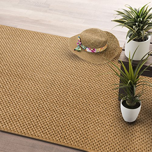 casa pura® Tiger Eye Pollution Free Sisal Runner Rug 66x200cm | Non-Slip Latex Backing, Natural - In 4 widths