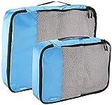 AmazonBasics Kleidertaschen-Set, 4-teilig, 2 mittelgroße und 2 große Kleidertaschen, Himmelblau - 4