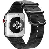 FINTIE Rem kompatibel med Apple Watch 44 mm 42 mm serie 5/4/3/2/1 - lätt andningsbar vävd nylon sport ögla armband med metall