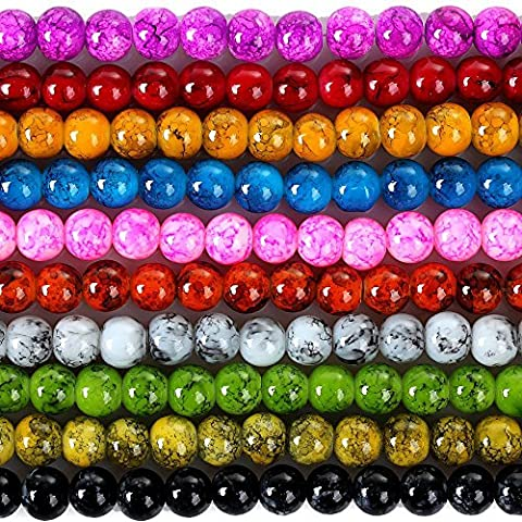 RUBYCA 4mm 2 Strands Czech Glass Round Beads Mix Painted Colored String for Jewelry Making DIY by RUBYCA