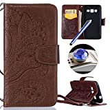 Etsue Samsung Galaxy Grand Prime G530 Cover,Samsung Galaxy Grand Prime G530 Custodia in Pelle Portafoglio Lusso Style Bella Elegante Fiori Modello Artificiale Leather Pu Puro Wallet/Libro/Flip Antigraffio Bumper Protettiva Case Cover Morbida Flessible Tpu Interno Caso Con Magnetica Chiusura/Card Slot/Supporto di Stand Per Samsung Galaxy Grand Prime G530+Blu Stylus Pen e scintillio di Bling Diamond Dust Plug colora casuale-Marrone