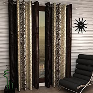 Home Sizzler Abstract 2 Piece Eyelet Polyester Door Curtain Set - 7ft, Brown