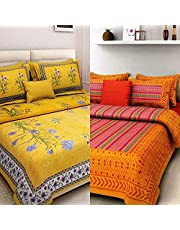 RHF 144 TC 100% Jaipuri Cotton Combo Set of 2 Double Bedsheet with 4 Pillow Covers - Multi