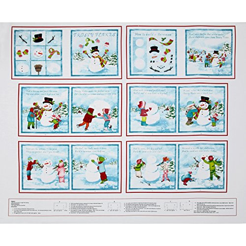 Frosty Flocken Buch Panel 24 in. Weiß/Blau Stoff (Stoff-buch-panels)