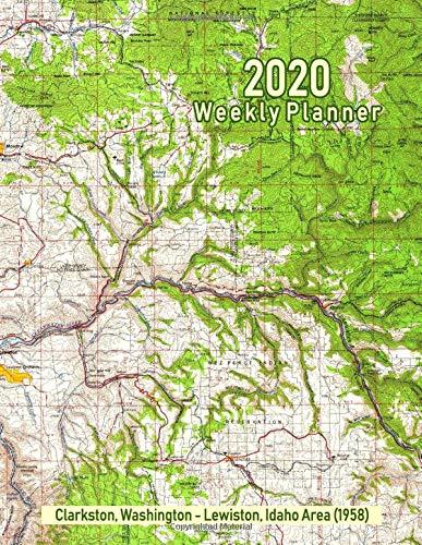 2020 Weekly Planner: Clarkston, Washington - Lewiston, Idaho Area (1958): Vintage Topo Map Cover -