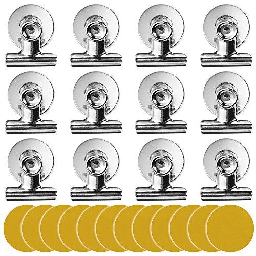 Magnet Clips, Lictin 12 Stück Magnet Klammer Magnetisch Clips mit Kratzschutz Sticker, super Magnete