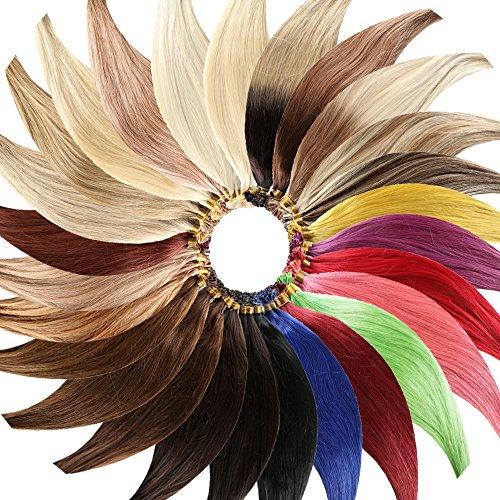 r Extensions (60 cm - Glatt - 8 Tressen mit 18 Clips) Haarverlängerung XXL Komplett-SET - 140g - Kanekalon synthetisches Haar mit sehr hoher Qualität (Grüne Hair Extensions)