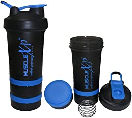 MuscleXP AdvancedStak Protein Shaker for Professionals (Black & Blue) with Steel Ball