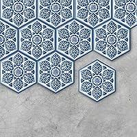 Momola 1 Set/10 Pieces 23 x 20cm Self Adhesive Waterproof Honeycomb 3D Paintings Tile Art Wall Decal Sticker DIY Kitchen Bathroom Floor Home Room Decor Vinyl Wallpaper Modern Style (A)