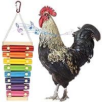 Libelyef Jouet de poulet en bois Xylophone 8 tons pour poules frappant Xylophone Jouet suspendu pour poules, perroquet