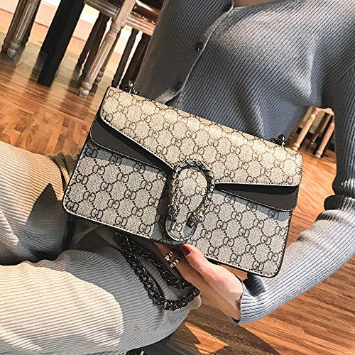 YZJLQML Lady bagsSimple Damentasche Schulter Umhängetasche Handy kleine Tasche Kette kleine quadratische Tasche @Black