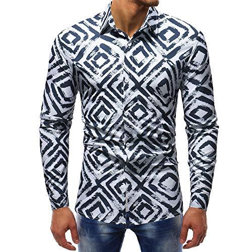 MEIbax Herren Fashion Printed Hemden beiläufige Lange Hülsen dünne Hemd Oberseiten Langarmshirt Tops