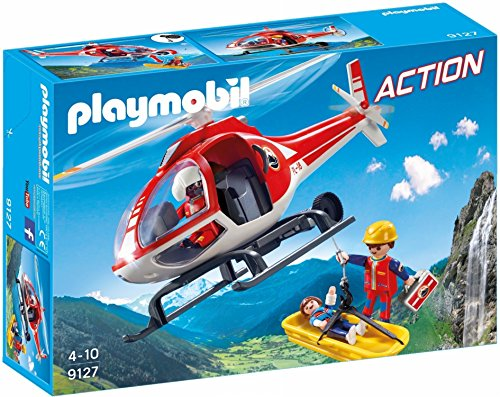 Playmobil-9127 Mountain Rescue Helicopter, unique (9127)