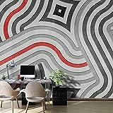 WALL81Soft Shapes Tapete, Zellstoff und Textilfasern ökologischen, grau, rot, schwarz, Gr. m-cm 399x 300H