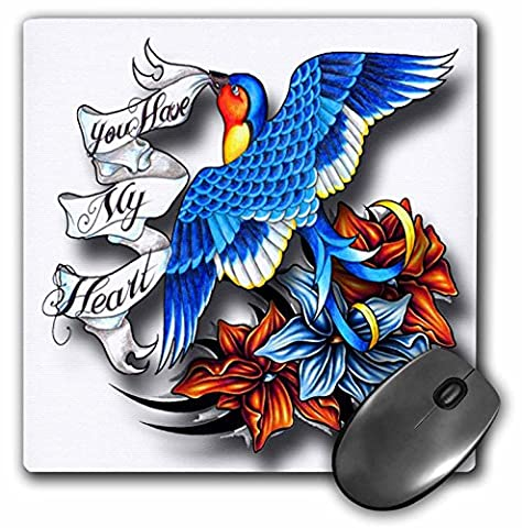 Spiritual Awakenings Birds - You have my heart blue bird and beautiful flowers with message in the ribbon - MousePad