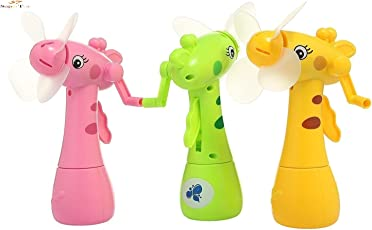 Super Toy Cute Eco-Friendly Hand-Driven Mist Spray Fan (Multi Color) (Pack of 1)